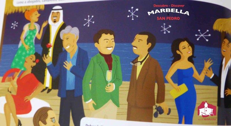 Cartoon of Marbella party scene