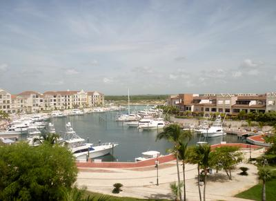 Yacht marina with restaurants, night club and water sports