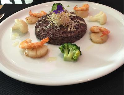 Black Rice and Truffles, Scallops, and Prawns