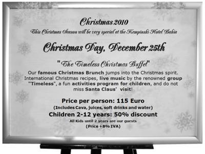 Christmas Day Program at the Kempinski Hotel Bahía