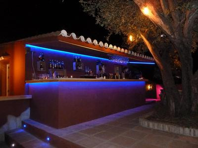 The bar area by night