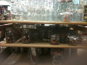 Glass jars at Casa store in San Pedro