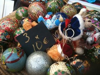 Xmas decorations at La Virginia Christmas fair Marbella