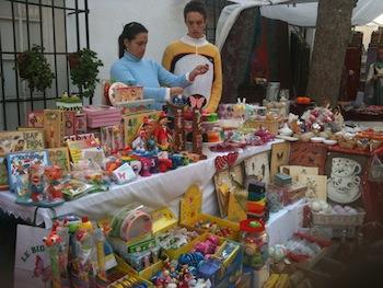Toy stand at La Virginia Christmas market Marbella