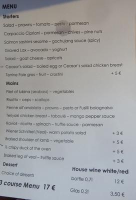 typical menu