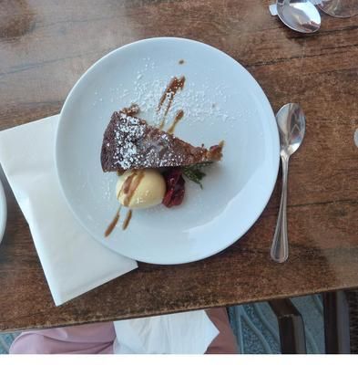 Apple cake dessert at Mr Gourmet Burger