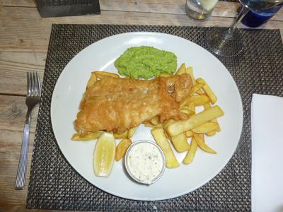 Haddock, chips and Peas