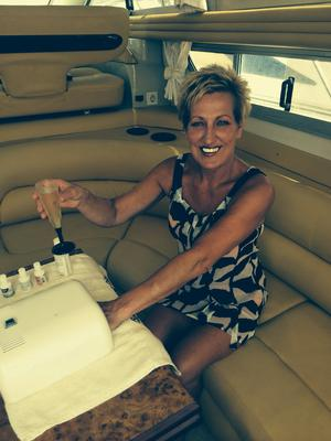 Relax and enjoy your nail and foot treatment  on a boat in Marbella Marina with a complimentary glass of fizz