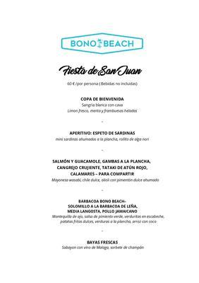 Menú Barbacoa Y Mariscos para Fiesta de San Juan Bono Beach Marbella