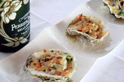 The Oyster Gratin with Sherry Wine Sauteed Vegetables - try it with a Glass of Champagne!