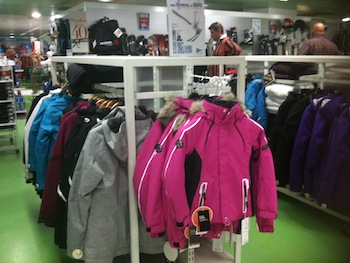 Ski clothing department at El Corte Inglés Marbella