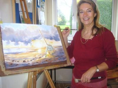 Fiona Pruden Demonstrating watercolour techniques