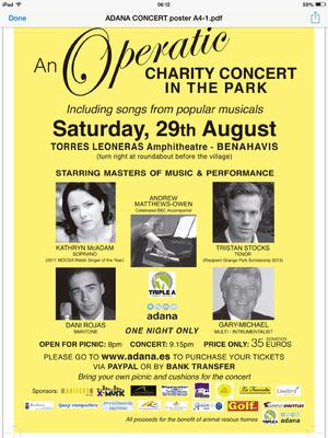 Charity Picnic & Opera in Benhavis for Animal Shelters - August 29, 2015