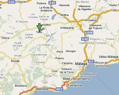 Map showing Teba