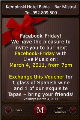 Print this voucher and exchange it for a glass of spanish wine and a tapa at the Kempinski Hotel Bahia Bar Mistral on March 4!
