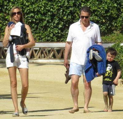 Hugh Grant and family stroll the boardwalk