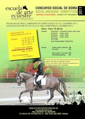 Social dressage competition at Estepona Riding School